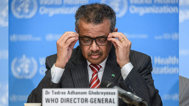 World Health Organization (WHO) Director-General Tedros Adhanom Ghebreyesus attends a daily press briefing on COVID-19 virus at the WHO headquaters on March 9, 2020 in Geneva. - WHO Director-General Tedros Adhanom Ghebreyesus announced on March 11, 2020 that the new coronavirus outbreak can now be characterised as a pandemic. (Photo by Fabrice COFFRINI / AFP)